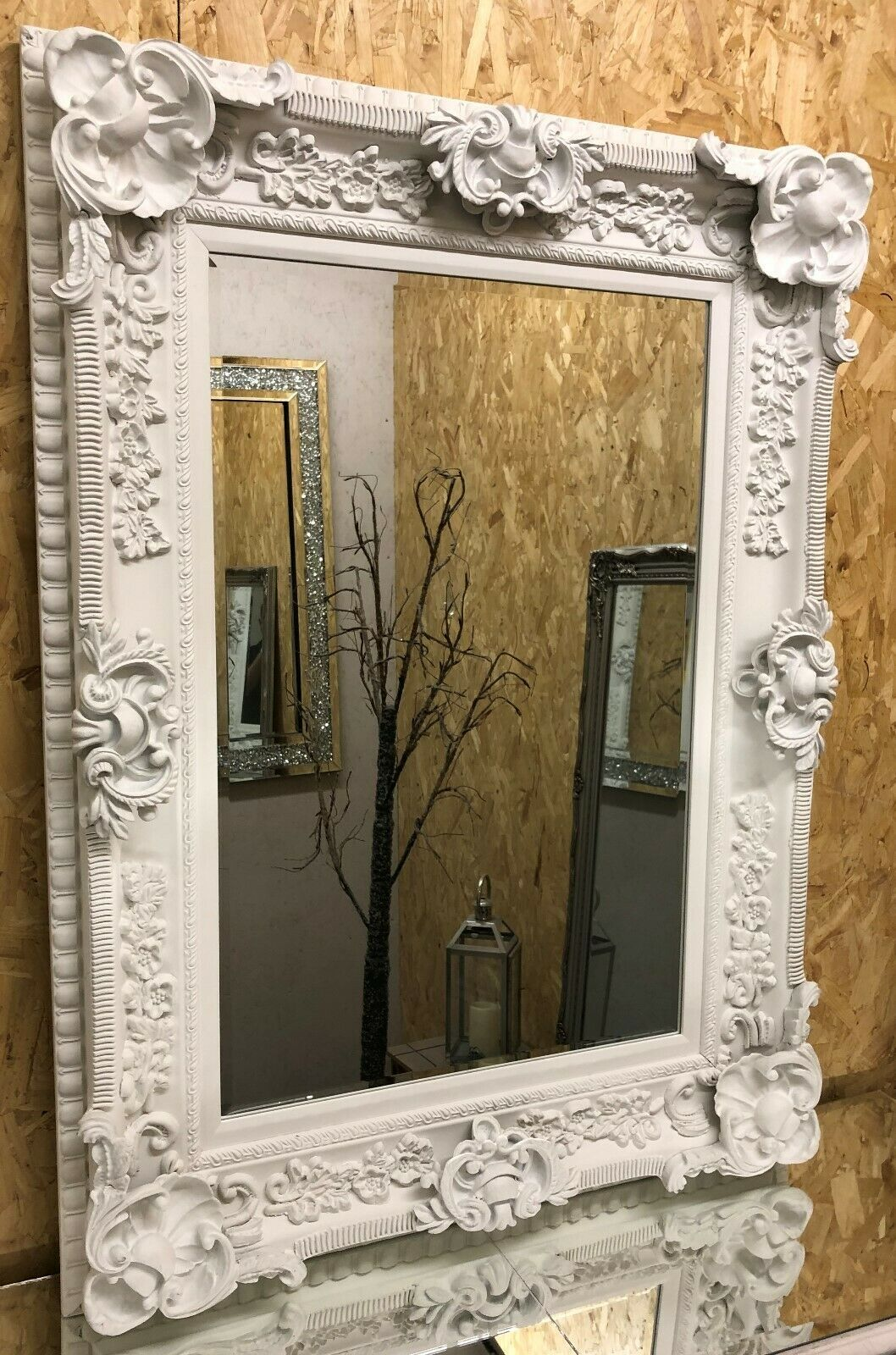 Huge French White Ornate Regal Chunky Wall Mirror Rrp